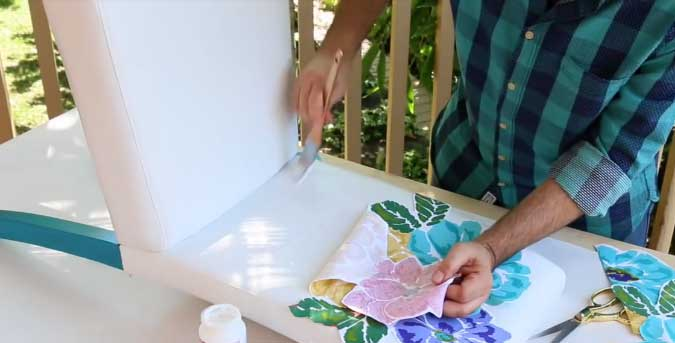 Apply the cutouts with Americana Fabric Decoupage