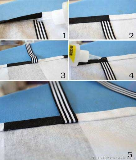 Folding the Ribbon over the Fabric